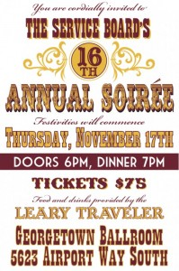 The Service Board will host the 16th annual Soiree on Thursday, November 17, 2011.